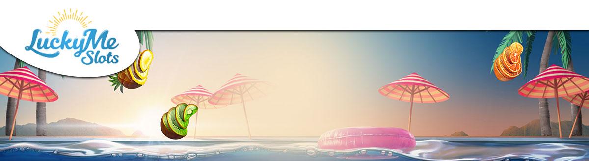 Banner med strand og parasoller